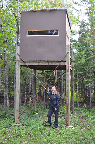 "Originally, this deer blind stand was my daughter's first tree house that she helped design, build and paint when she was 6 years old. Last year I dismatled the treehouse, and hauled the legs, decking, roof and most of the internal framing to our cabin in the UP. Hopefully my grandson we be able to one day hunt with grandpa in his mom's old ""tree house."""