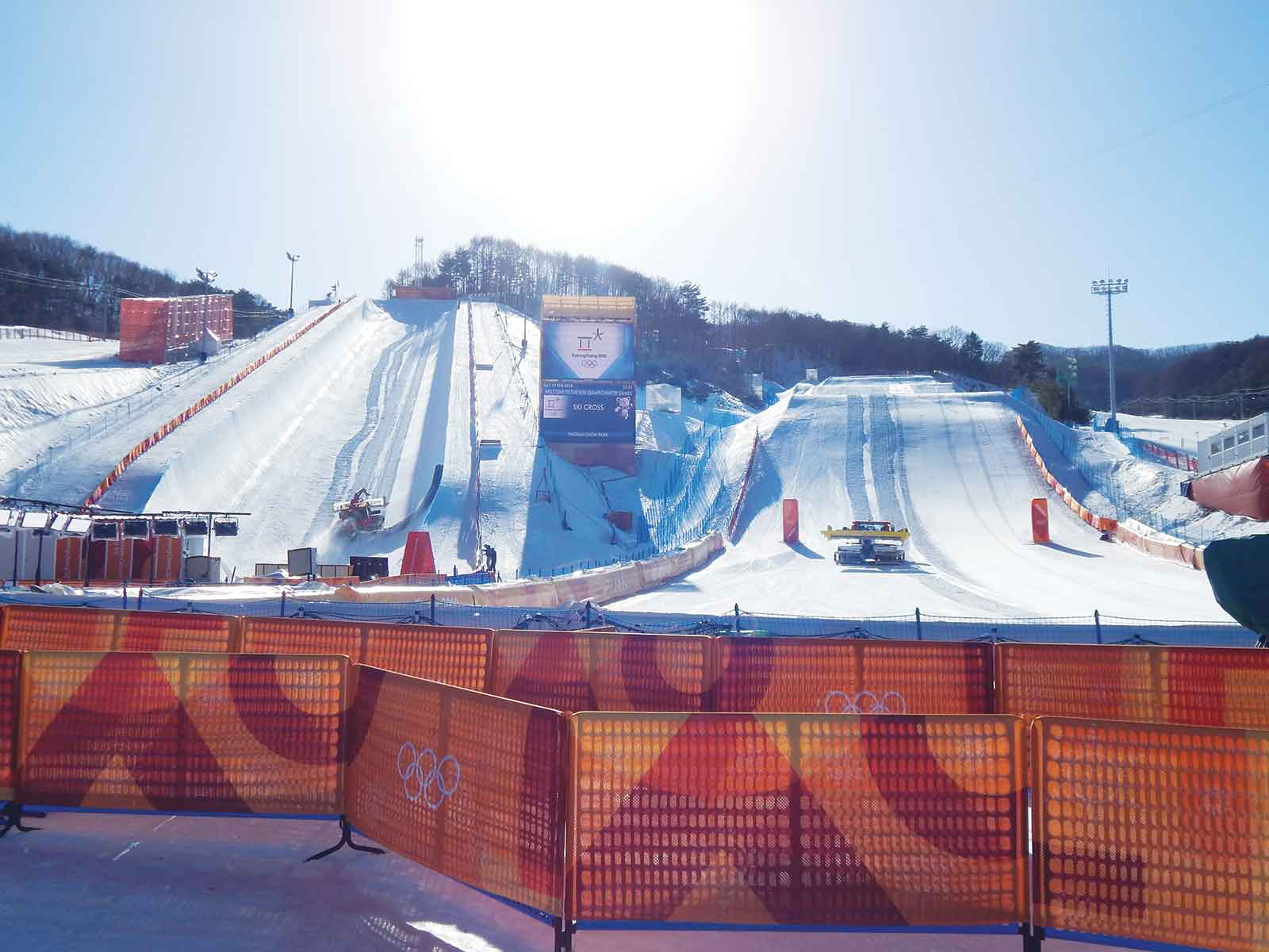 A view from the finish-line area of Jake and his team's super-pipe and boarder-cross venues at the 2018 Olympics in South Korea.
