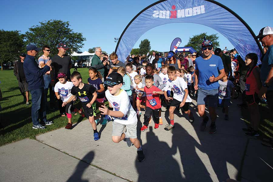 Kids competed in the IRONKIDS race prior to the IRONMAN 70.3 Traverse City.